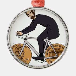 Ornement Rond Argenté Abraham Lincoln sur un vélo avec le penny roule la