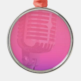 Ornement Rond Argenté Affiche d'assistance de nuit de karaoke