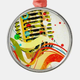 Ornement Rond Argenté Affiche de microphone de jazz