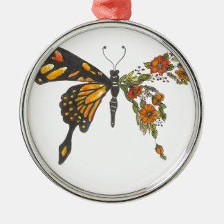 Ornement Rond Argenté Ailes de papillon