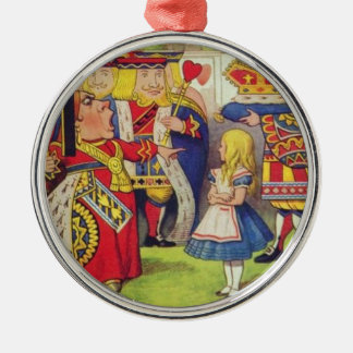 Ornement Rond Argenté Alice et la reine des coeurs