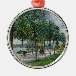 Ornement Rond Argenté Allée des arbres de châtaigne - Alfred Sisley