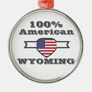 Ornement Rond Argenté Américain de 100%, Wyoming