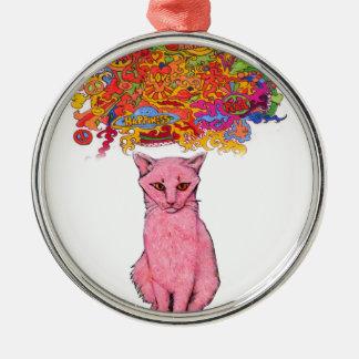Ornement Rond Argenté Amour et bonheur Kitty de paix