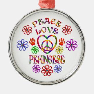 Ornement Rond Argenté Amour Pekingese de paix