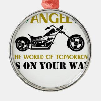 Ornement Rond Argenté Ange de moto