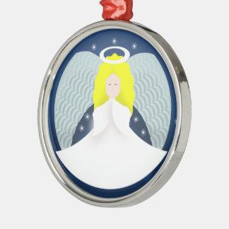 Ornement Rond Argenté Ange de Noël avec des ailes