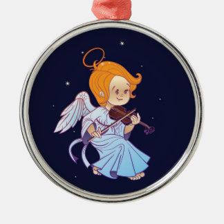 Ornement Rond Argenté Ange mignon de bébé de Noël jouant le violon
