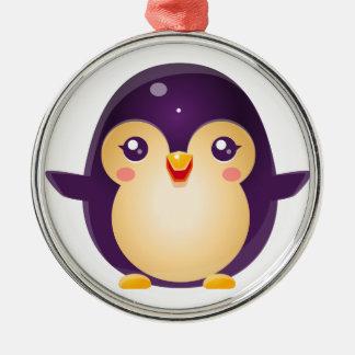 Ornement Rond Argenté Animal de bébé de pingouin dans le style doux