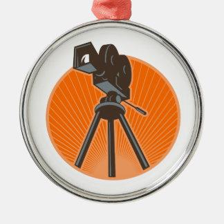 Ornement Rond Argenté Appareil-photo de cinéma du cru 35mm rétro