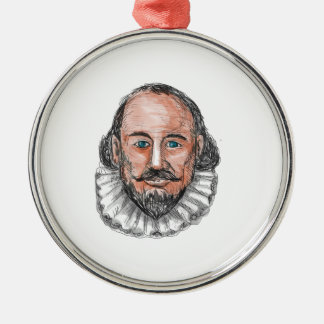 Ornement Rond Argenté Aquarelle principale de William Shakespeare