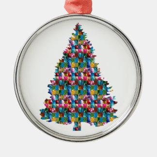 Ornement Rond Argenté Arbre de Noël clouté par GEMME :  Joyeux Noël