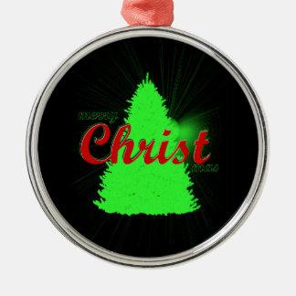 Ornement Rond Argenté Arbre de vert d'ornement d'arbre de Noël encadré