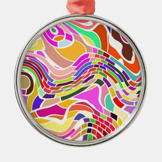Ornement Rond Argenté Art abstrait de mouvement dans des couleurs