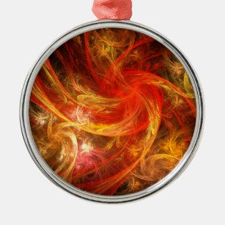 Ornement Rond Argenté Art abstrait de nova de tempête de feu rond