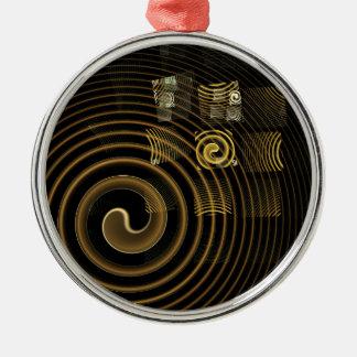 Ornement Rond Argenté Art abstrait d'hypnose rond
