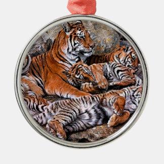 Ornement Rond Argenté Art de petit-tigre de famille-tigre de