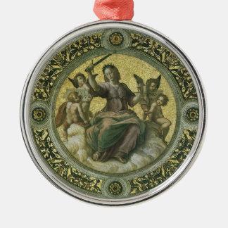Ornement Rond Argenté Art de Renaissance vintage, justice par Raphael