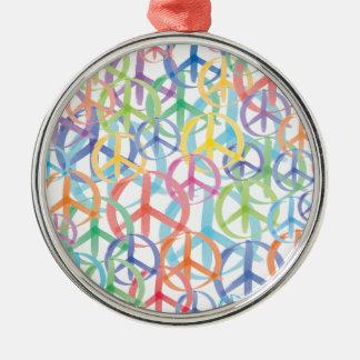 Ornement Rond Argenté Art de symboles de paix