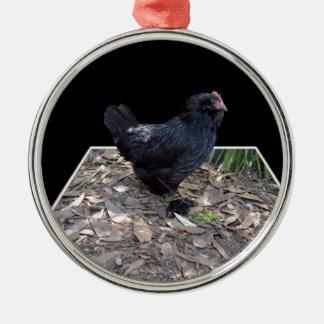 Ornement Rond Argenté Art dimensionnel de coq noir,