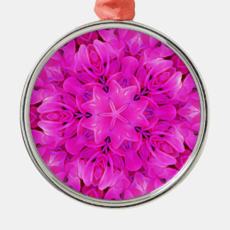Ornement Rond Argenté Art floral de roses indien de conception de