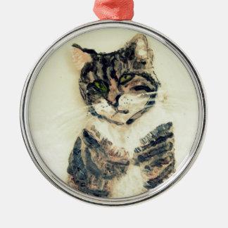 Ornement Rond Argenté Art mignon de chat tigré