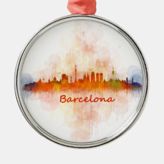 Ornement Rond Argenté Barcelone Skyline watercolor v04