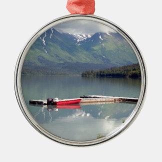 Ornement Rond Argenté Bateau sur le lac trail, Alaska