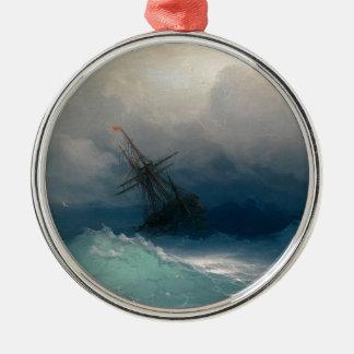 Ornement Rond Argenté Bateau sur les mers orageuses, Ivan Aivazovsky -