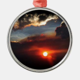 Ornement Rond Argenté belle photo de coucher du soleil de smokey