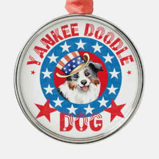 Ornement Rond Argenté Berger américain miniature patriote
