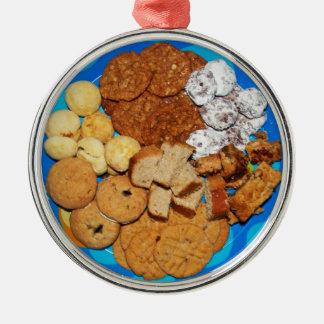 Ornement Rond Argenté Biscuits de Noël