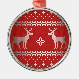 Ornement Rond Argenté Blanc rouge de motif de pullover de Noël de renne