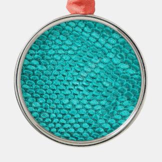 Ornement Rond Argenté Bleu de turquoise de reptile