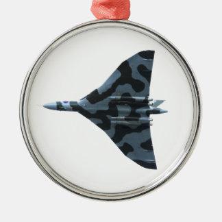 Ornement Rond Argenté Bombardier de Vulcan en vol