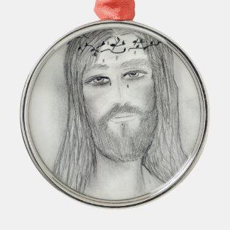 Ornement Rond Argenté Bon Jésus