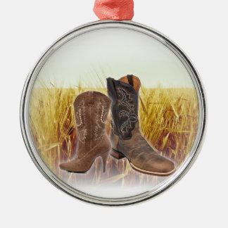 Ornement Rond Argenté Bottes de cowboy de pays occidental de champ de