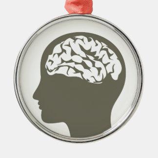 Ornement Rond Argenté Brain5