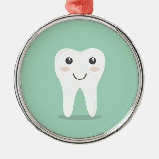 Ornement Rond Argenté Brosse à dents de brossage de dent de dentiste