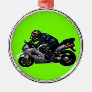 Ornement Rond Argenté Cadeau de transport de motard de puissance de moto