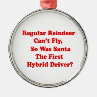 Ornement Rond Argenté calembour d'hybride du renne de père Noël