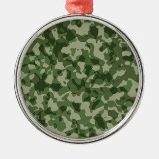 Ornement Rond Argenté Camouflage militaire de vert de jungle