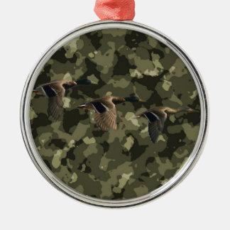 Ornement Rond Argenté Canard militaire extérieur de canard de camouflage
