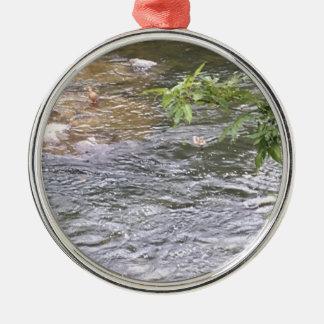 Ornement Rond Argenté Canards de rivière