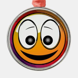 Ornement Rond Argenté Caractère de sourire de visage