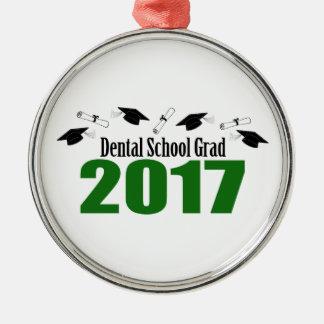 Ornement Rond Argenté Casquettes du diplômé 2017 d'école dentaire et