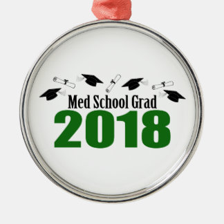 Ornement Rond Argenté Casquettes du diplômé 2018 d'école de Med et