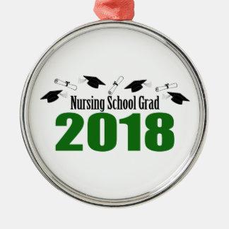 Ornement Rond Argenté Casquettes du diplômé 2018 d'école d'infirmières