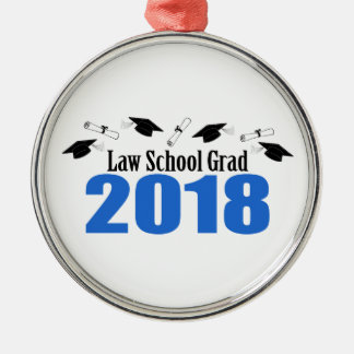 Ornement Rond Argenté Casquettes et diplômes du diplômé 2018 d'école de