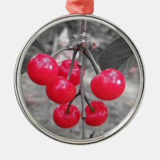 Ornement Rond Argenté Cerises rouges de Montmorency sur l'arbre dans le